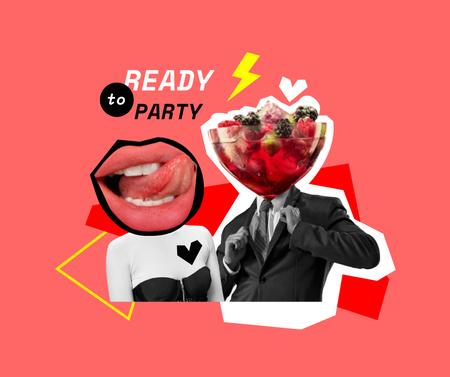 Ontwerpsjabloon van Facebook van Party Announcement with Funny Characters