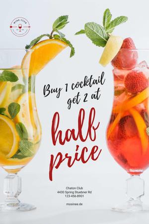 Platilla de diseño Half Price Offer with Cocktails in Glasses Pinterest