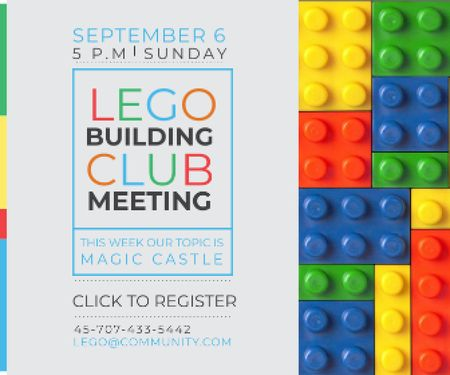 Lego Building Club Meeting Large Rectangle Modelo de Design