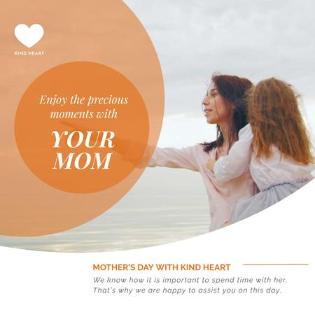 Mother and daughter by the sea on Mothers Day Animated Postデザインテンプレート