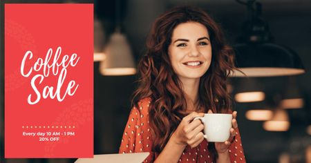 Designvorlage Woman holding coffee cup für Facebook AD