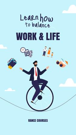 Funny Illustration of Man balancing between Work and Life Instagram Story Modelo de Design