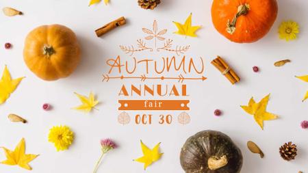 Ontwerpsjabloon van FB event cover van Autumn pumpkins and leaves