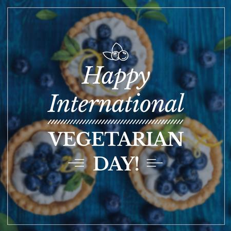 Vegetarian day greeting Cupcakes with Blueberries Instagram AD – шаблон для дизайна