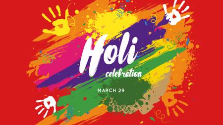 Ontwerpsjabloon van FB event cover van Holi Festival Announcement with bright Paint