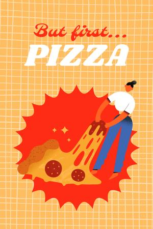 Funny Illustration of Woman and Huge Piece of Pizza Pinterest – шаблон для дизайна