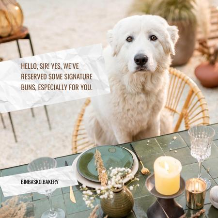 Funny Bakery Ad with Cute Dog sitting at Table Instagram – шаблон для дизайну