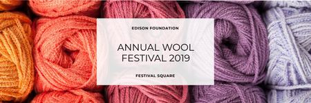 Ontwerpsjabloon van Twitter van Knitting Festival Invitation Wool Yarn Skeins