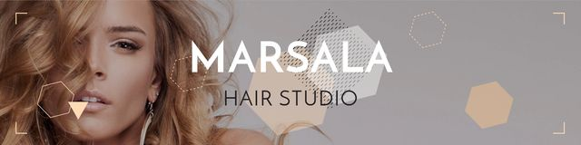Hair studio Ad with Attractive Woman Twitter Tasarım Şablonu