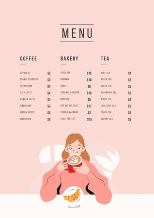 Ontwerpsjabloon van Menu van Cafe promotion with dreamy Girl