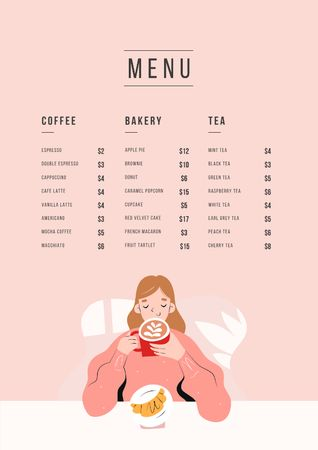 Cafe promotion with dreamy Girl Menu Modelo de Design
