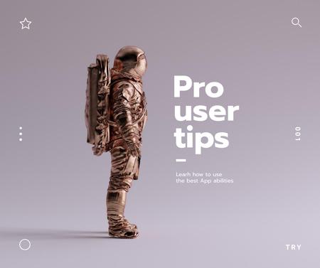 Ontwerpsjabloon van Facebook van Mobile App Ad with Futuristic Astronaut