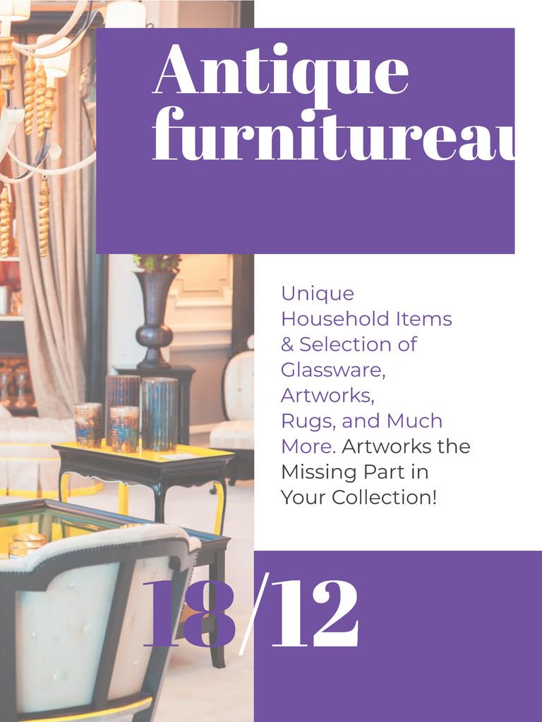 Modèle de visuel Antique Furniture Auction Vintage Wooden Pieces - Poster US