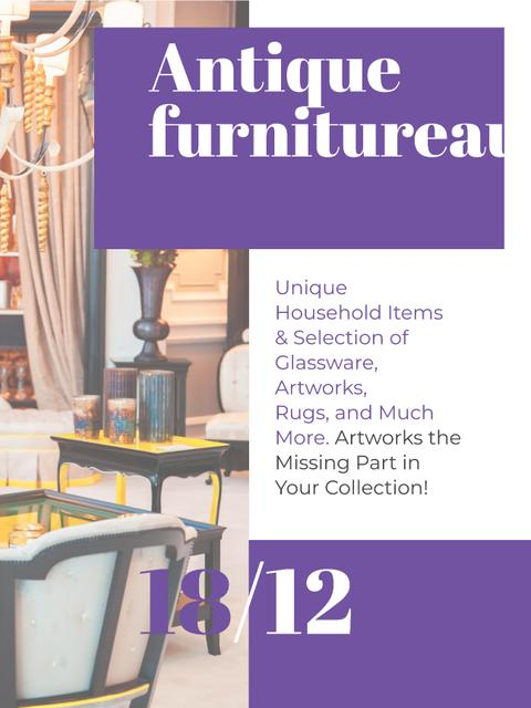 Antique Furniture Auction Vintage Wooden Pieces Poster US – шаблон для дизайну