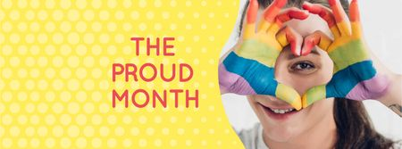 Modèle de visuel Pride Month Announcement with Girl showing Heart - Facebook cover
