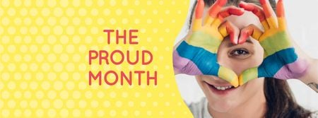 Pride Month Announcement with Girl showing Heart Facebook cover Design Template