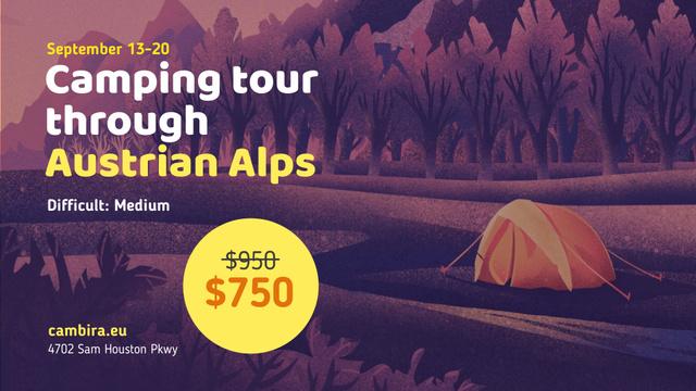 Ontwerpsjabloon van FB event cover van Camping Tour Tents in Valley Illustration