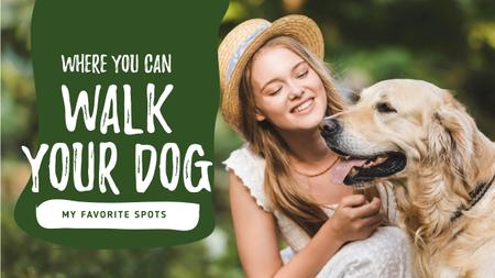 Dog Walking Services Girl with Golden Retriever Youtube Thumbnail Design Template