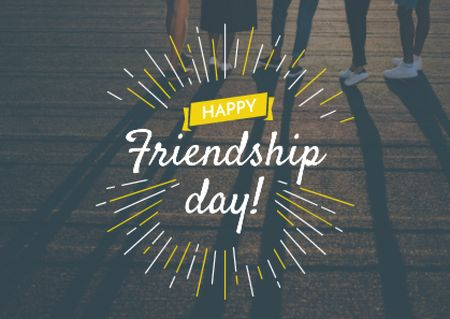 Friendship Day Greeting with Young People Together Postcard Design Template