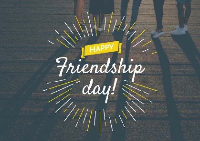 Plantilla de diseño de Friendship Day Greeting with Young People Together Postcard