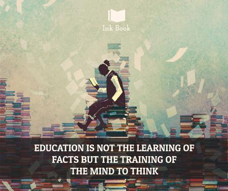 Education Inspiration Man on stack of Books Facebook Modelo de Design