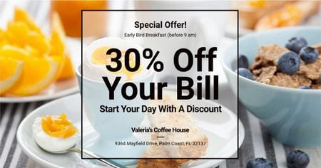 Discount card for early breakfast Facebook ADデザインテンプレート