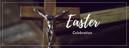 Easter Celebration Announcement with Wooden Cross Facebook cover – шаблон для дизайну