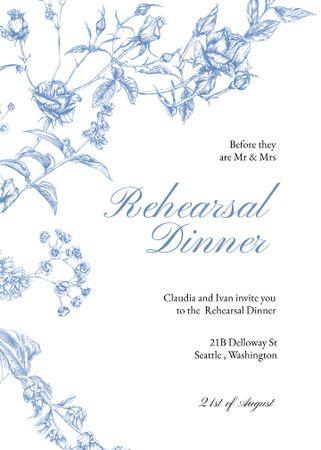 Modèle de visuel Rehearsal Dinner Announcement with Blue Flowers - Invitation