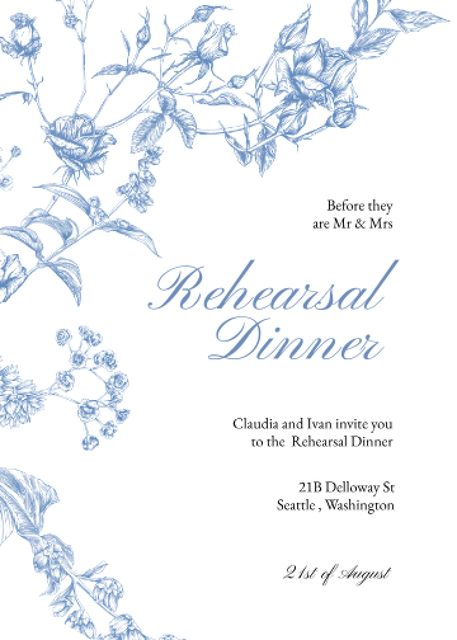 Rehearsal Dinner Announcement with Blue Flowers Invitation Design Template