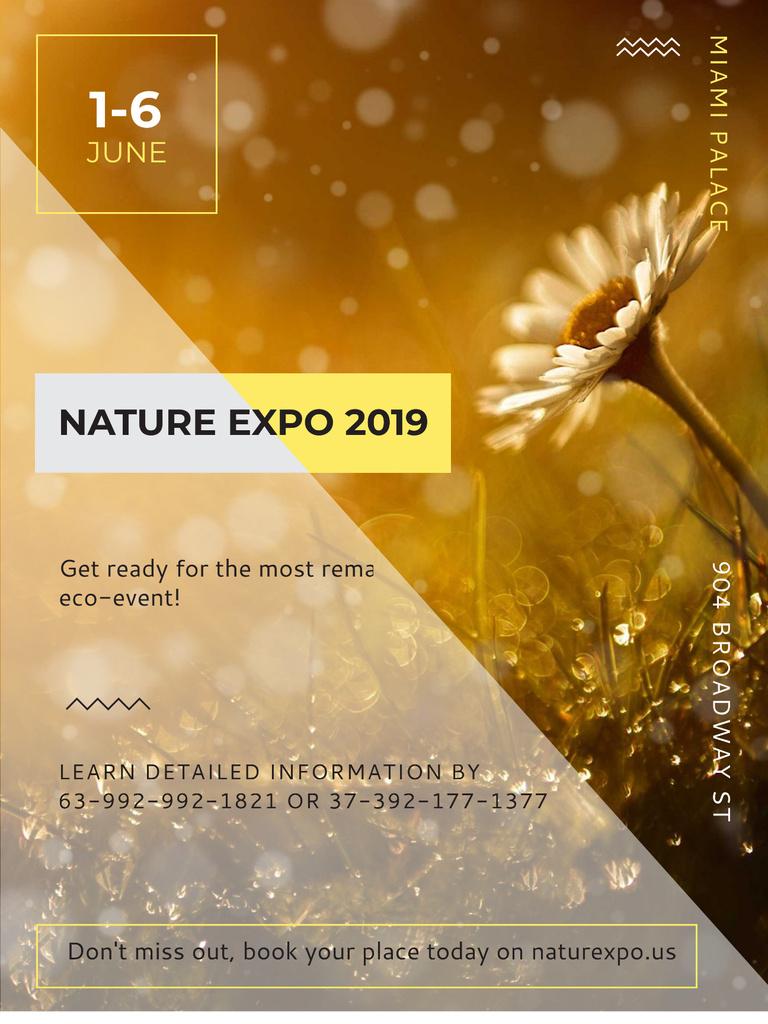 Nature Expo announcement Blooming Daisy Flower Poster US Modelo de Design