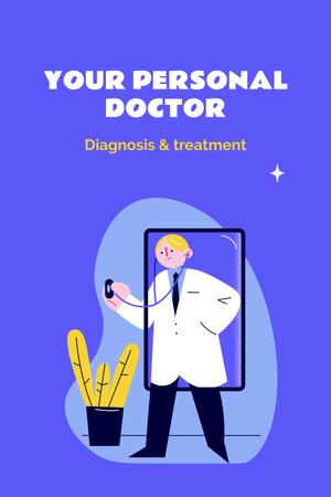 Modèle de visuel Doctor in uniform with stethoscope - Pinterest