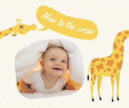 Baby Birthday Announcement with Cute Giraffes Facebook – шаблон для дизайна