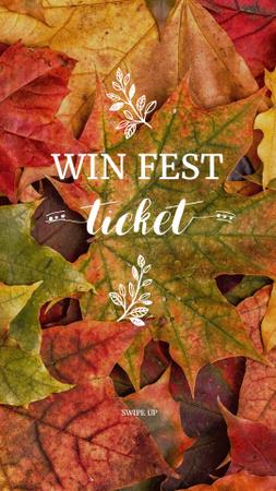 Ontwerpsjabloon van Instagram Story van Autumn Festival Announcement with Colorful Foliage