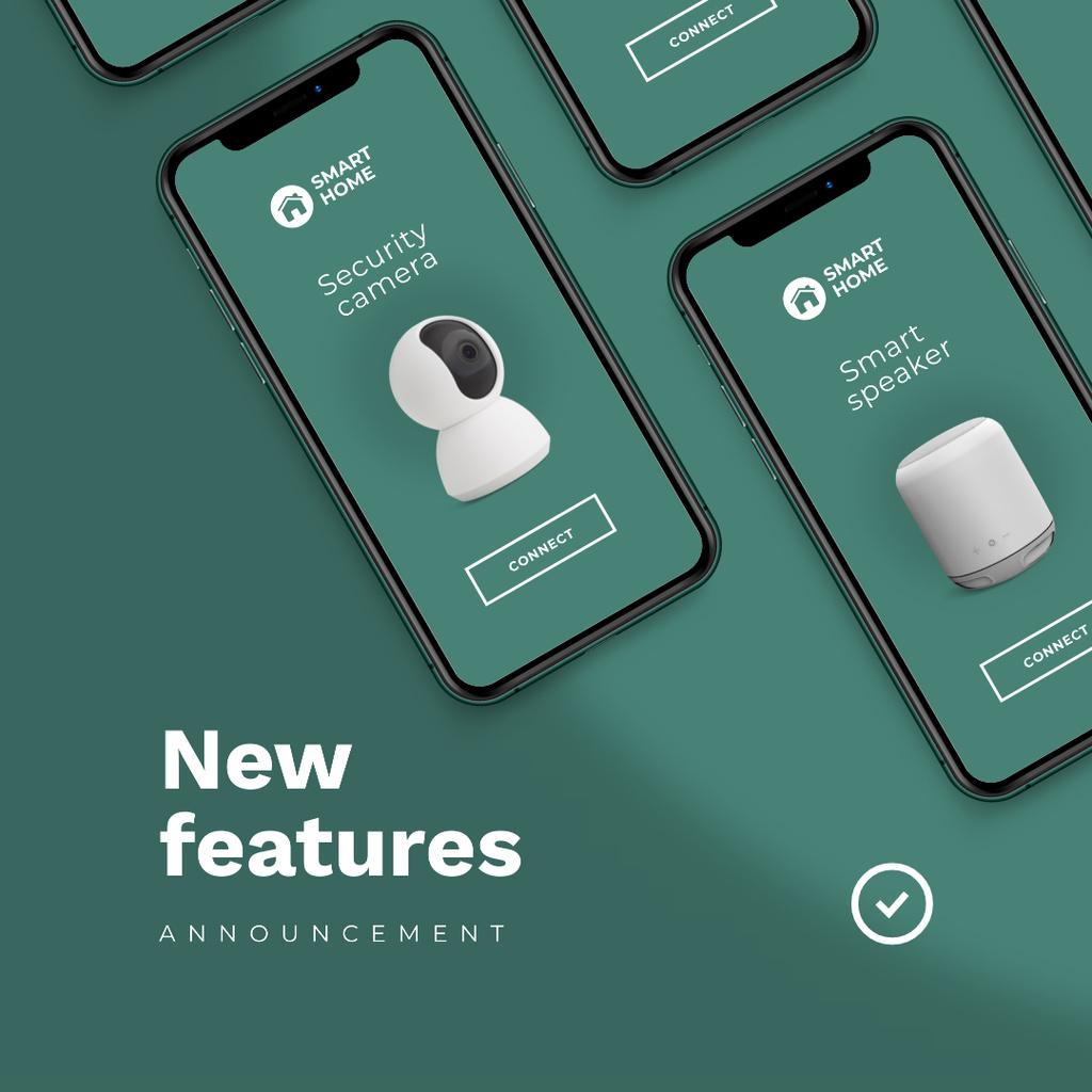 Plantilla de diseño de New App Features Announcement Instagram