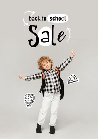 Back to School Sale Offer with Cute Pupil Boy Poster – шаблон для дизайна