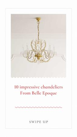Elegant Chandeliers Offer Instagram Story Modelo de Design