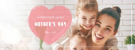 Template di design Mother's Day Greeting with happy Mom and Child Facebook cover