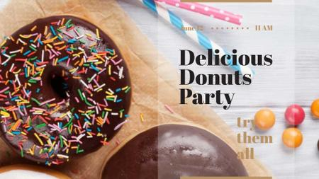Sweet glazed Donuts with sprinkles FB event cover Design Template