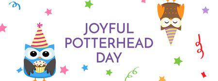 Plantilla de diseño de Joyful Potterhead Day Announcement with Owls Facebook cover
