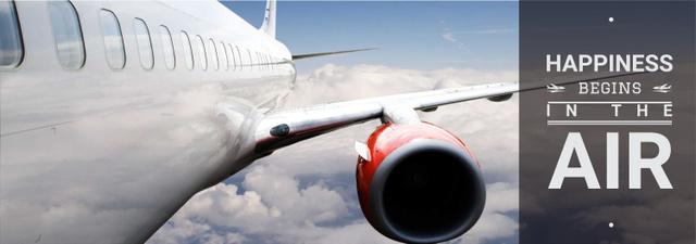 Plantilla de diseño de Plane flying in blue sky Tumblr