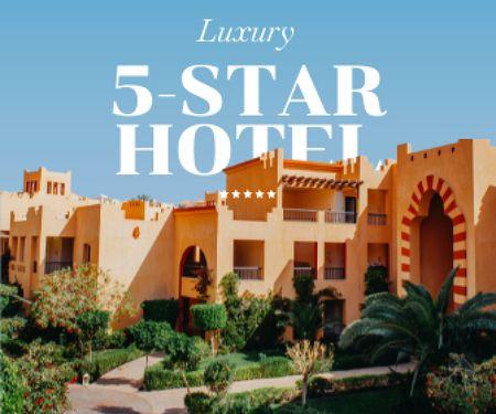 Plantilla de diseño de Summer Travel Offer with Luxury Hotel Large Rectangle