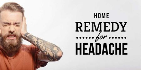 Ontwerpsjabloon van Twitter van Headache Remedy Ad with Man Suffering from Pain