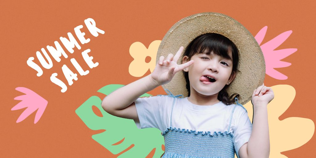 Summer Sale Ad with Cute Little Girl Twitter Design Template