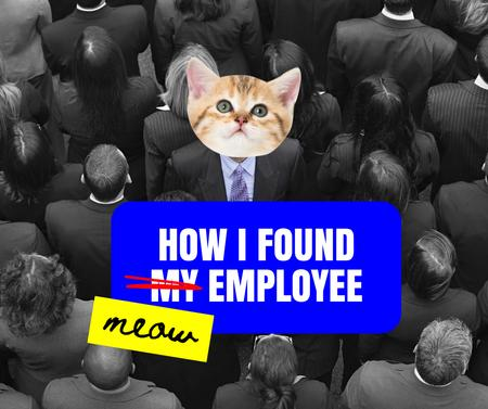 Cute Cat thinking about perfect Employee Facebook Design Template