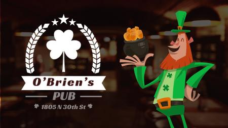 Plantilla de diseño de Saint Patrick's Leprechaun with Coins in Pub Full HD video