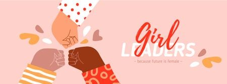 Girl Power Inspiration with Diverse Women's Hands Facebook cover Modelo de Design