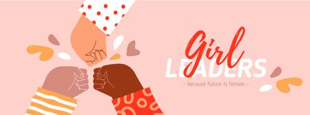 Girl Power Inspiration with Diverse Women's Hands Facebook coverデザインテンプレート