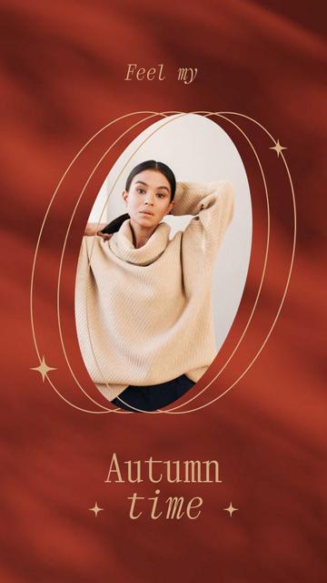 Szablon projektu Autumn Inspiration with Girl in Warm Sweater Instagram Story