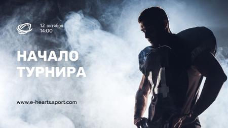 Stream Ad with Man in Sports Uniform Twitch Offline Banner – шаблон для дизайна