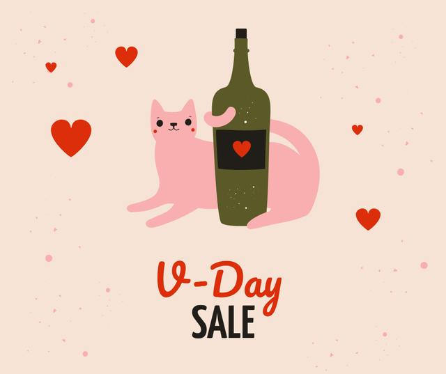 Cat with Wine bottle on Valentine's Day Facebook Design Template